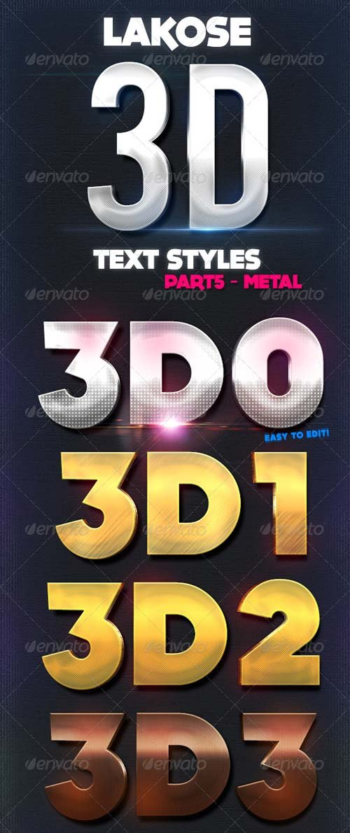 GraphicRiver Lakose 3D Text Styles Part 5