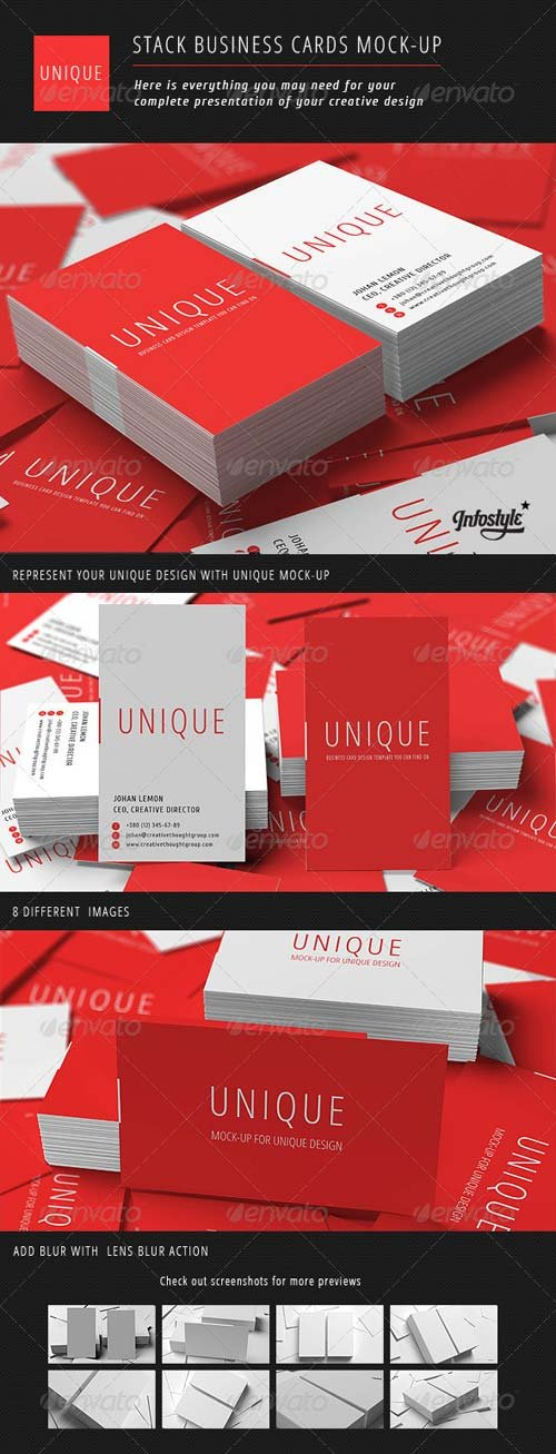GraphicRiver Stack Business Cards Mock-Up