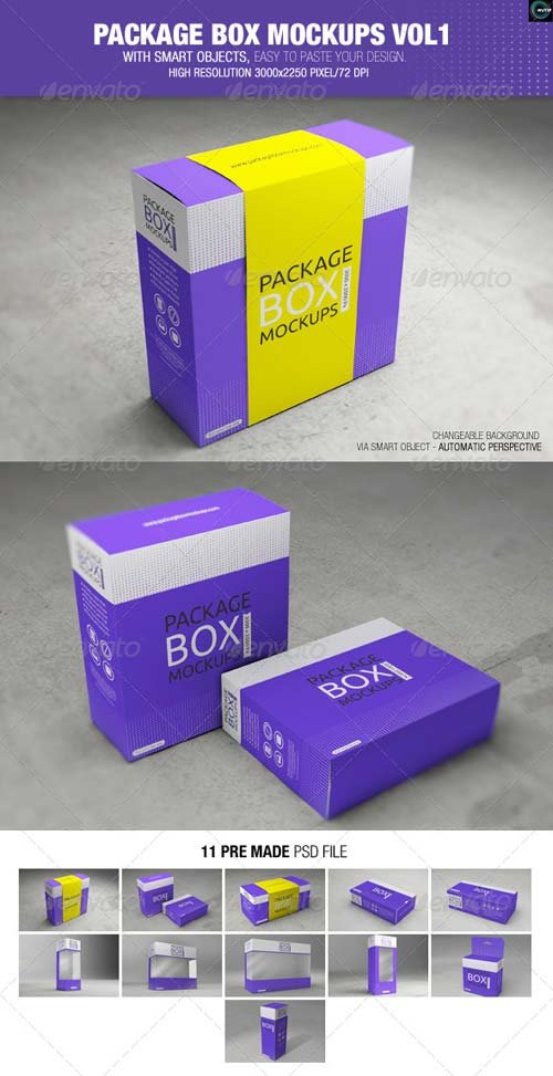 GraphicRiver Package Box Mockups Vol1