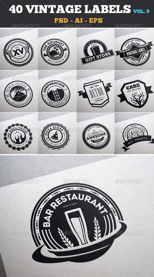 GraphicRiver 40 Vintage Labels & Badges / Logos / Insignias V9