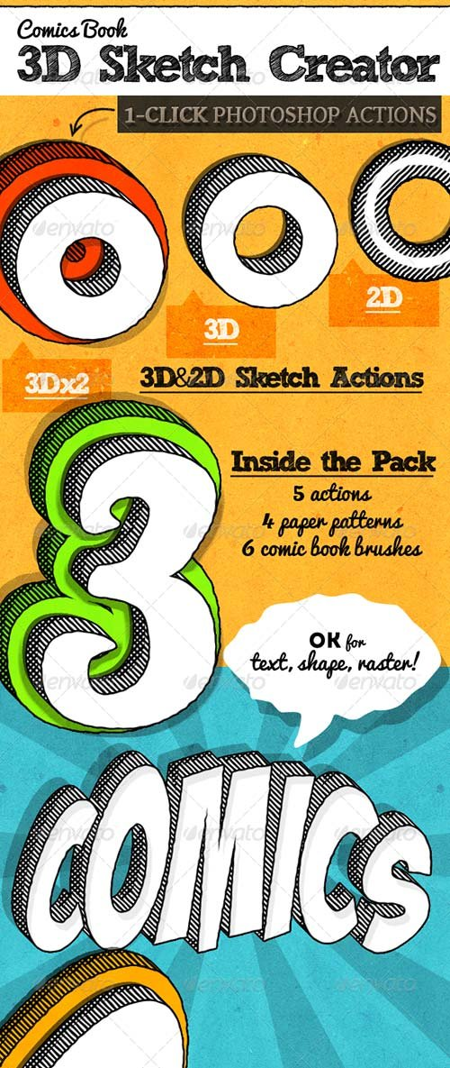 GraphicRiver Comic Book 3D Sketch Style Photoshop Actions