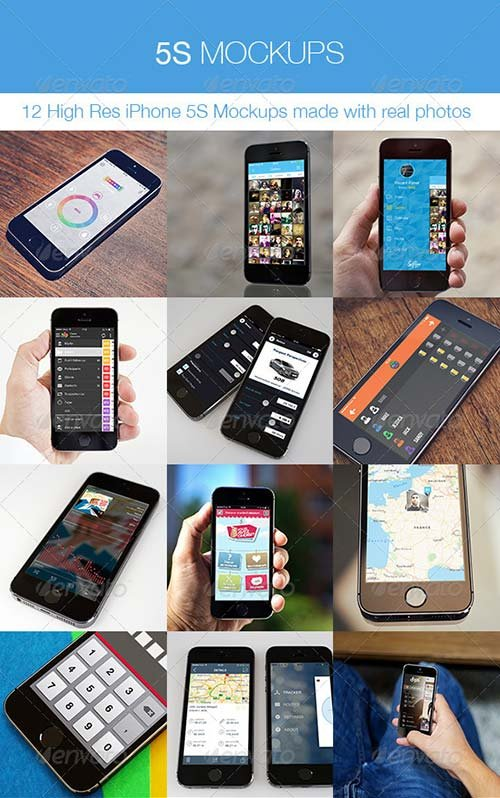 GraphicRiver 5S Mockups - 12 iPhone 5S Real Photos Mockups