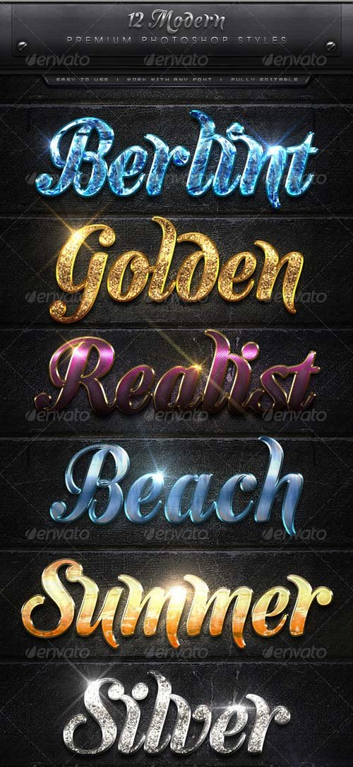 GraphicRiver 12 Modern Text Effect Styles