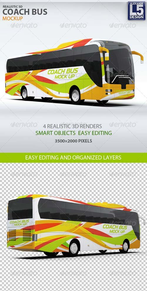 GraphicRiver Coach Bus mockup