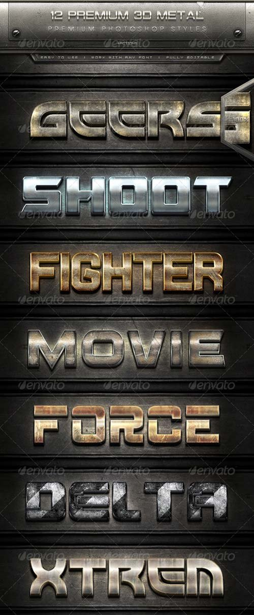 GraphicRiver 12 Premium 3D Metal Text Effect Styles + Actions