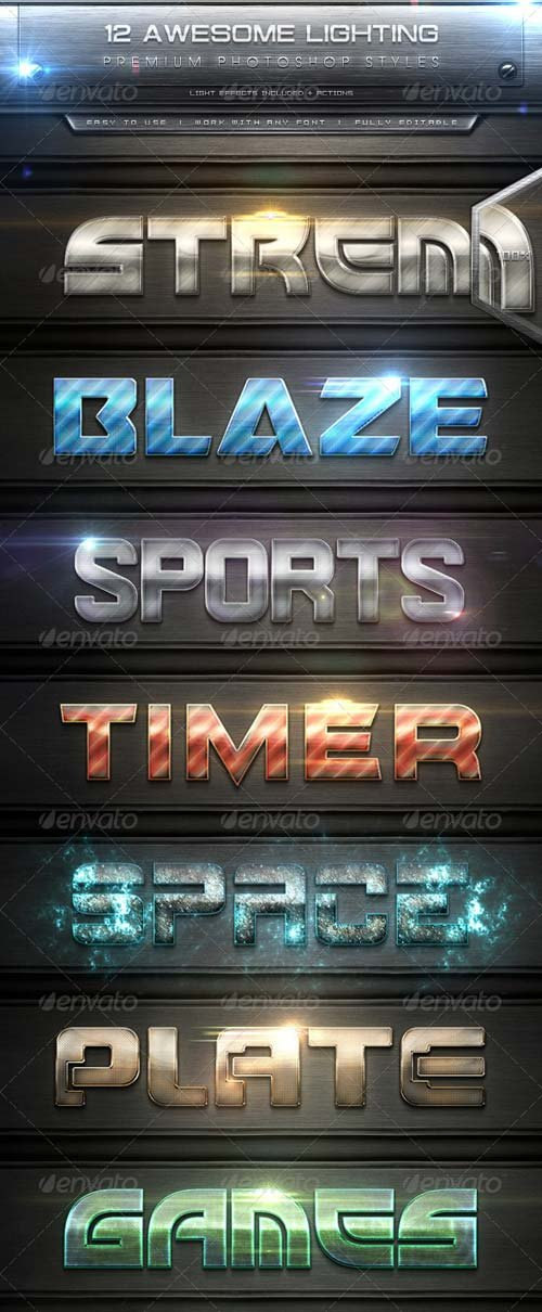 GraphicRiver 12 Awesome Lighting Text Effect Styles + Actions