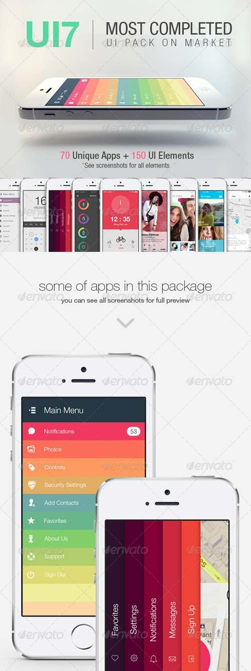 GraphicRiver UI7 - Flat Bootstrap Mobile UI / Phone App