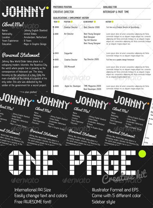GraphicRiver One Page Creative Resume Kit