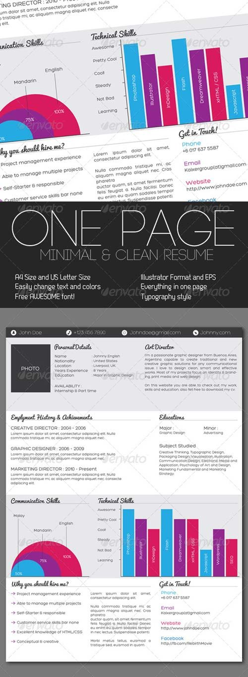 GraphicRiver Clean One Page Resume