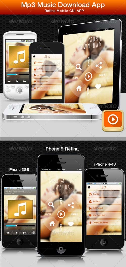 GraphicRiver New MP3 Music App