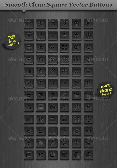 GraphicRiver Dark Square Icon Set Vector Web Buttons