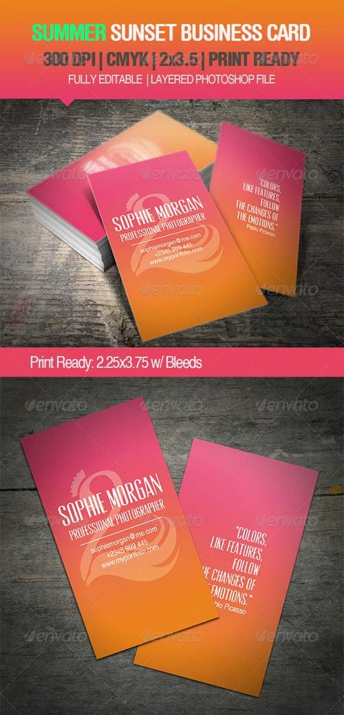 GraphicRiver Summer Sunset Business Card