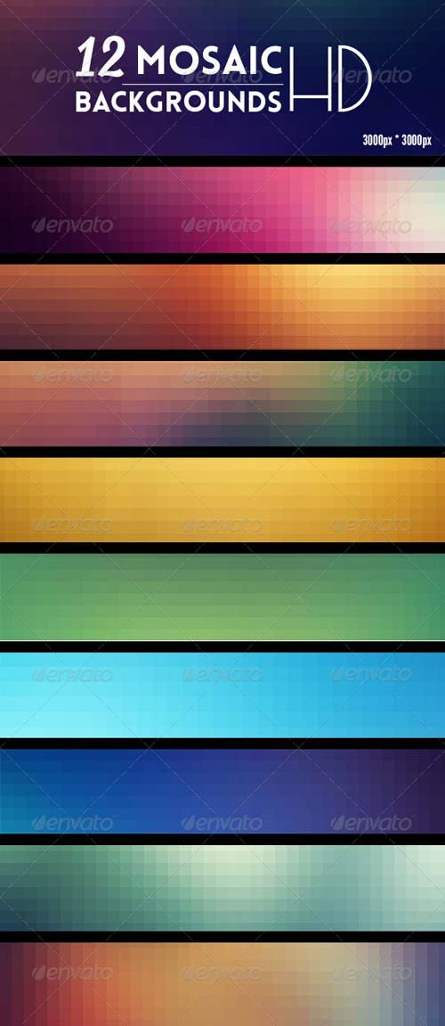 GraphicRiver 12 Mosaic Backgrounds HD