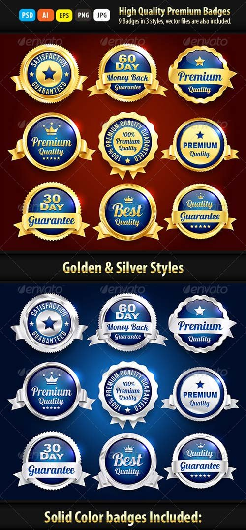 GraphicRiver Gold And Silver Premium Quality Badges