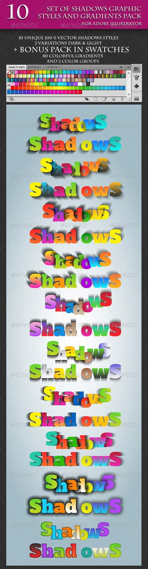 GraphicRiver Set of Unique Vector Shadows Graphic Styles.