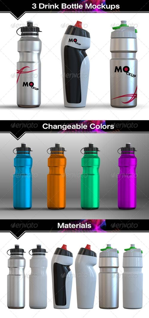 GraphicRiver 3 Drink Water Bottle Mockups