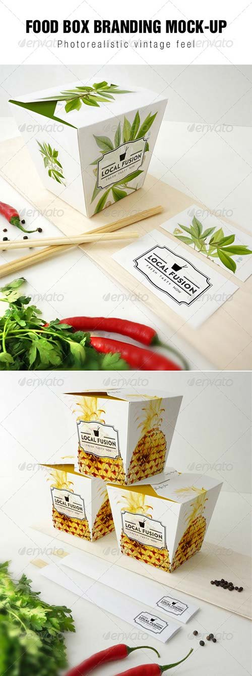 GraphicRiver Food Box Branding Mockup