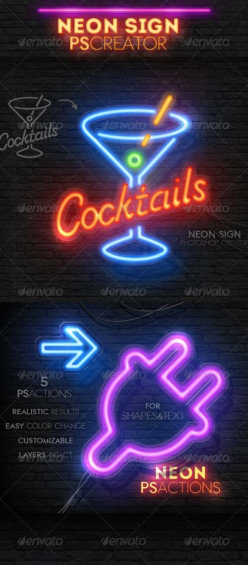 GraphicRiver Neon Light Sign Photoshop Actions