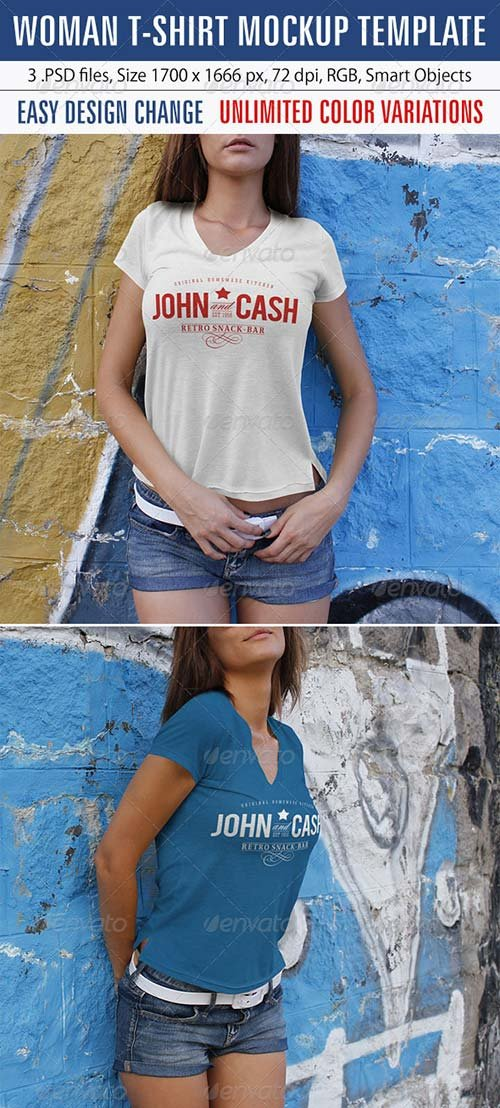 GraphicRiver Woman T-Shirt Mockup Template