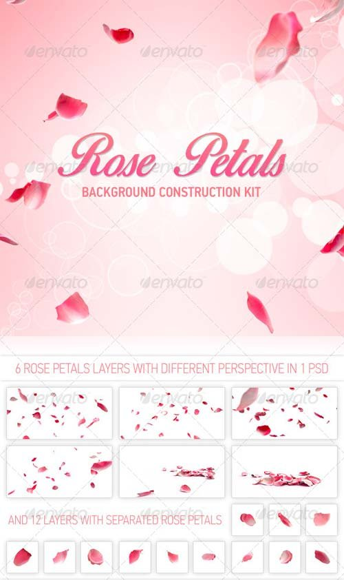 GraphicRiver Rose Petals Background Construction kit