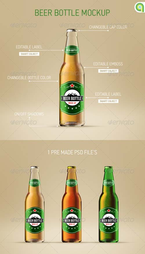 GraphicRiver Beer Bottle Mockup