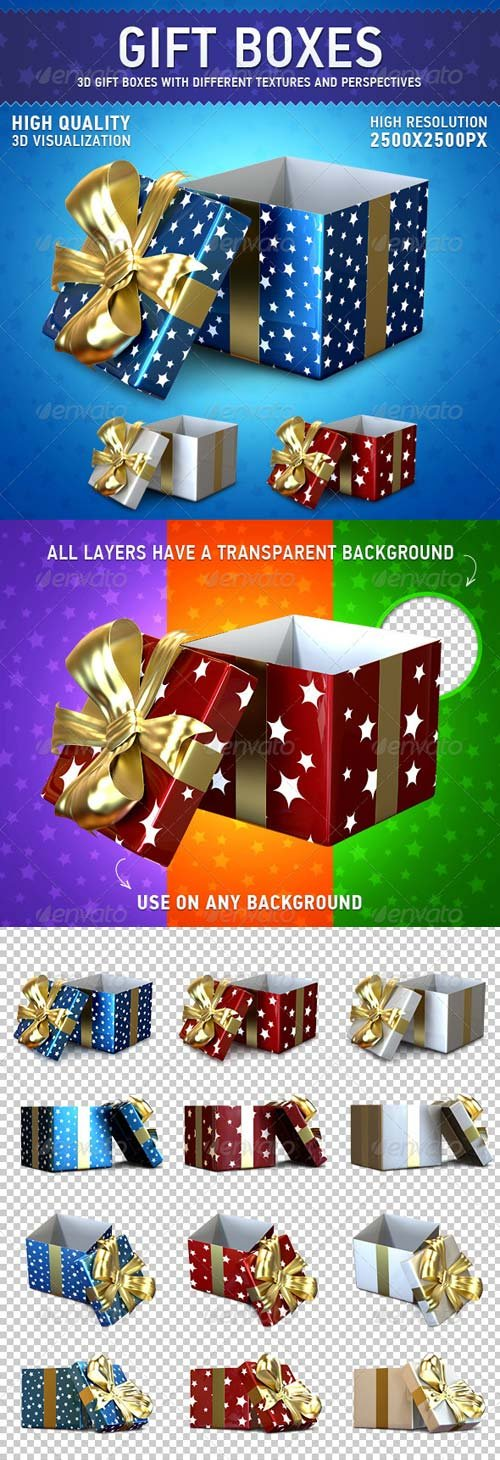 GraphicRiver Gift Boxes Set