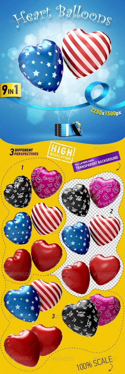 GraphicRiver Heart Balloons