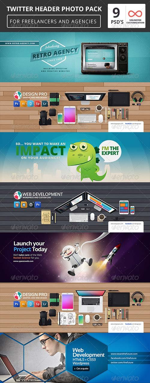 GraphicRiver 9 Twitter Header Covers Pack