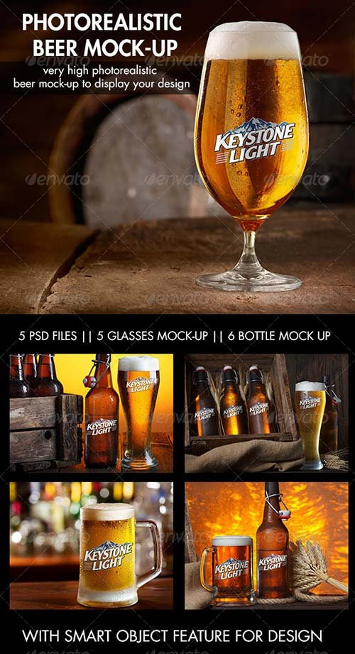 GraphicRiver Photorealistic Beer Mock-Up