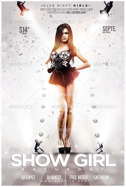 GraphicRiver Flyer Show Night Girl Saturday