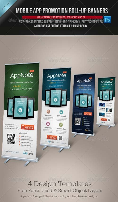 GraphicRiver Mobile App Promotion Roll-up Banners