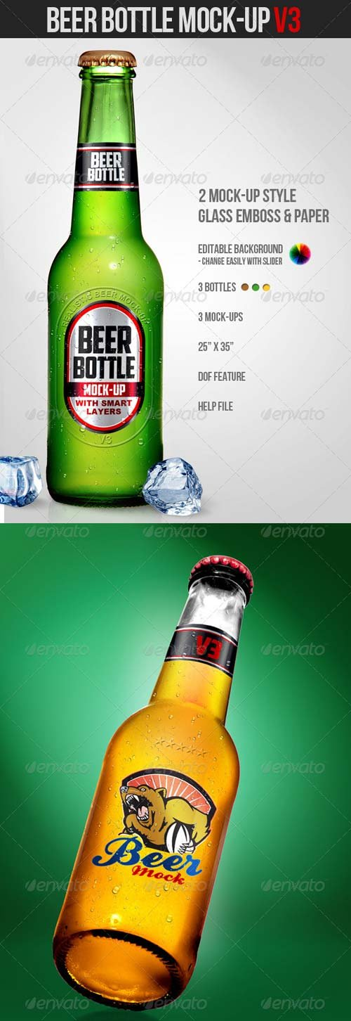 GraphicRiver Beer Bottle Mock-Up V3