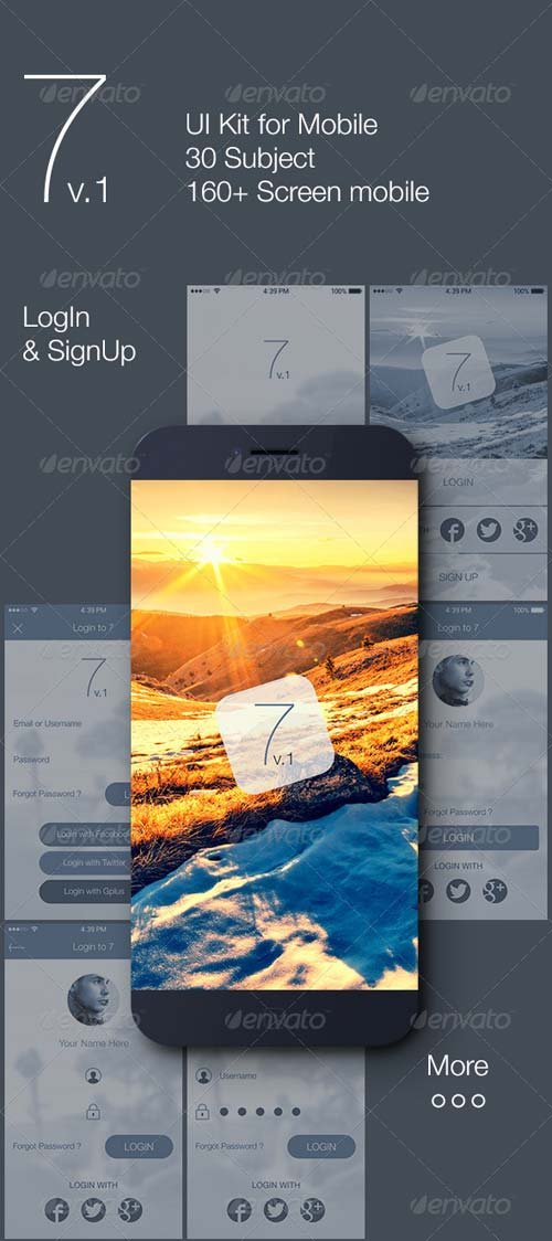 GraphicRiver 7 v.1 - Mobile UI Kit
