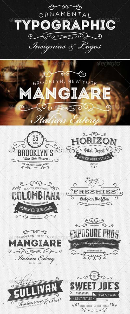 GraphicRiver Ornamental Typographic Insignias | Logos