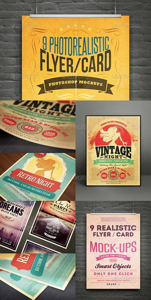 GraphicRiver Realistic Flyer/Card Mock-Ups Vol.1
