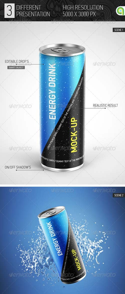GraphicRiver Energy Drink Can Mockup