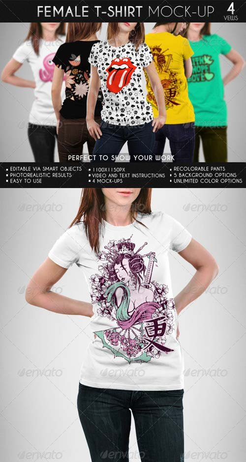 GraphicRiver Female T-Shirt Mock-Up 7142982