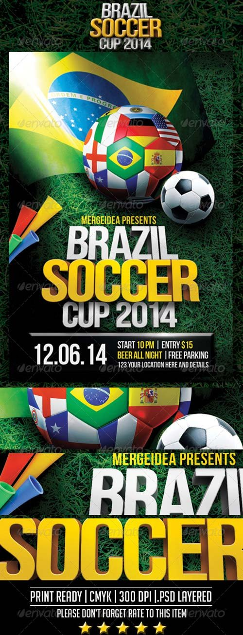 GraphicRiver Brazil Soccer World Cup Flyer