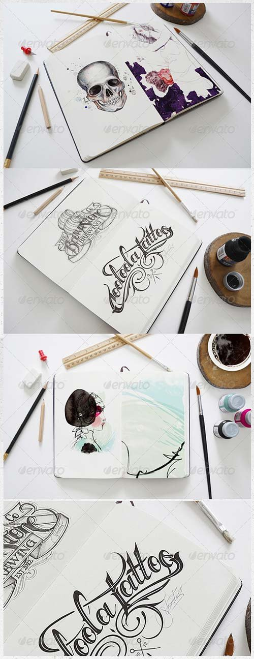 GraphicRiver Artist Sketch Book Mock-Up