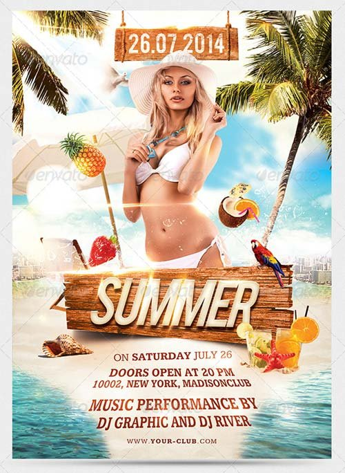 GraphicRiver Summer Beach Party Flyer 7973328