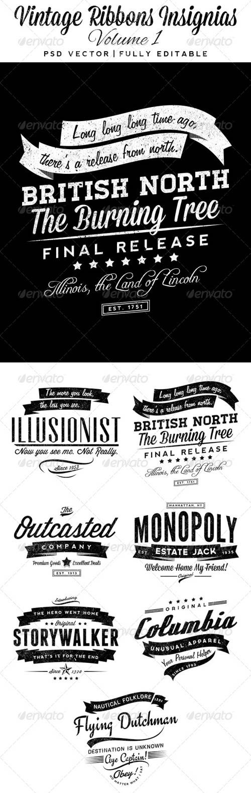 GraphicRiver Vintage Ribbons Insignias Volume 1