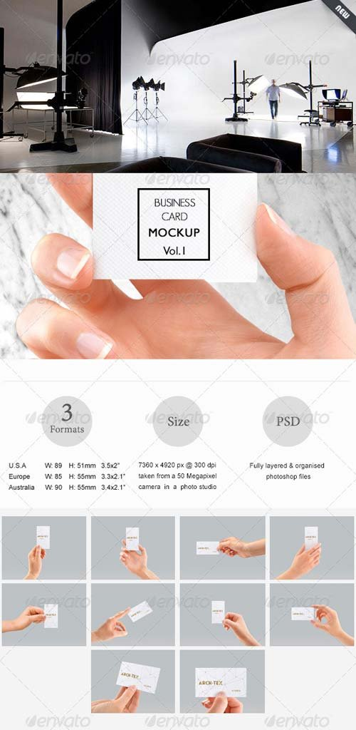 GraphicRiver Business Card Mock-up Vol.1 - Hand edition