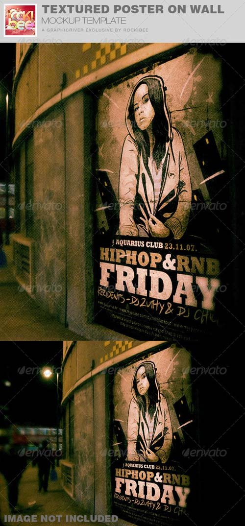 GraphicRiver Textured Poster on Wall Mockup Template