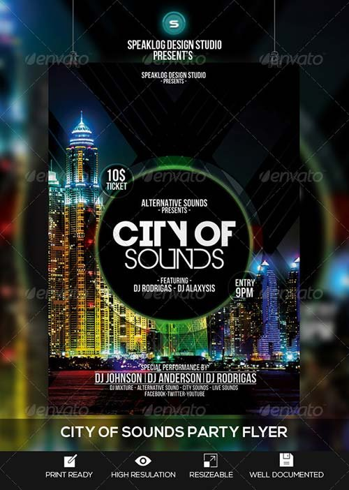 GraphicRiver City of Sound Futuristic Flyer V-02