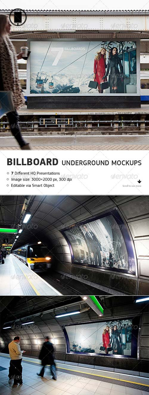 GraphicRiver Billboard - Underground, Metro, Subway Mock-Up