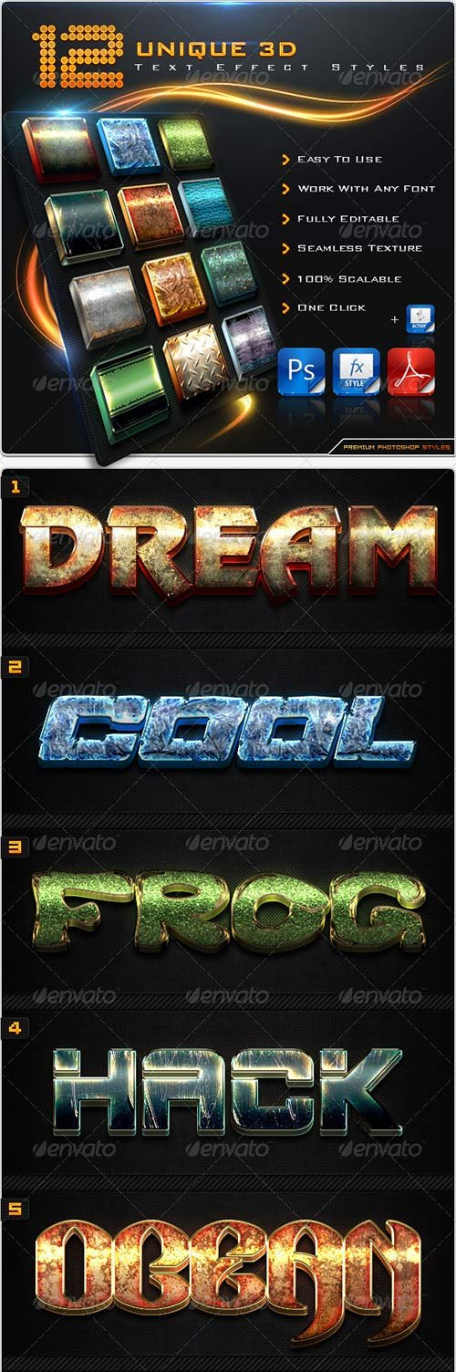 GraphicRiver 12 Unique 3D Text Effect Styles + Actions
