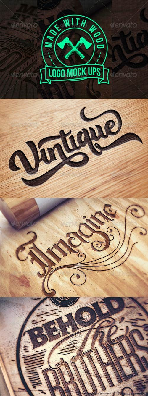 GraphicRiver Engraved Wood Logo Mock Ups