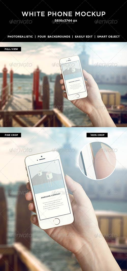 GraphicRiver Hand Holding White Phone Mockup