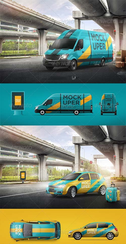 GraphicRiver Van & Car Mock-Ups (2 PSD)