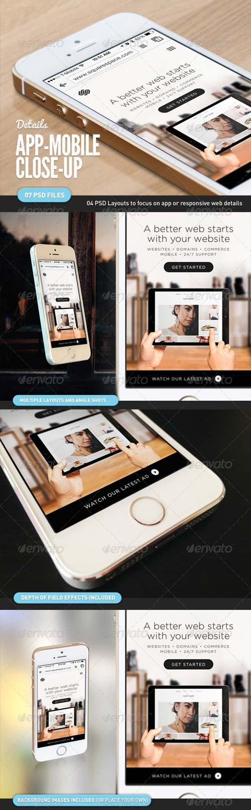GraphicRiver App UI Close-Up Mock-Up 5s White